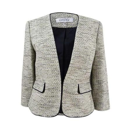 Kasper Women's Plus Size Contrast-Trim Tweed Blazer