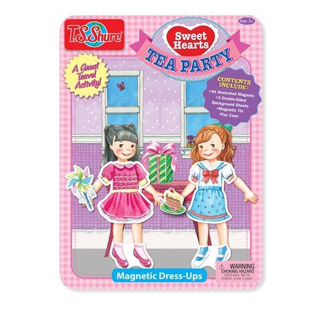 Sweet Hearts Tea Party Magnetic Tin Playset, Set includes: 4 dolls on the background sheets, 44 illustrated clothing pieces and fun accessories By T.S. (Heart Tin Tea Set)