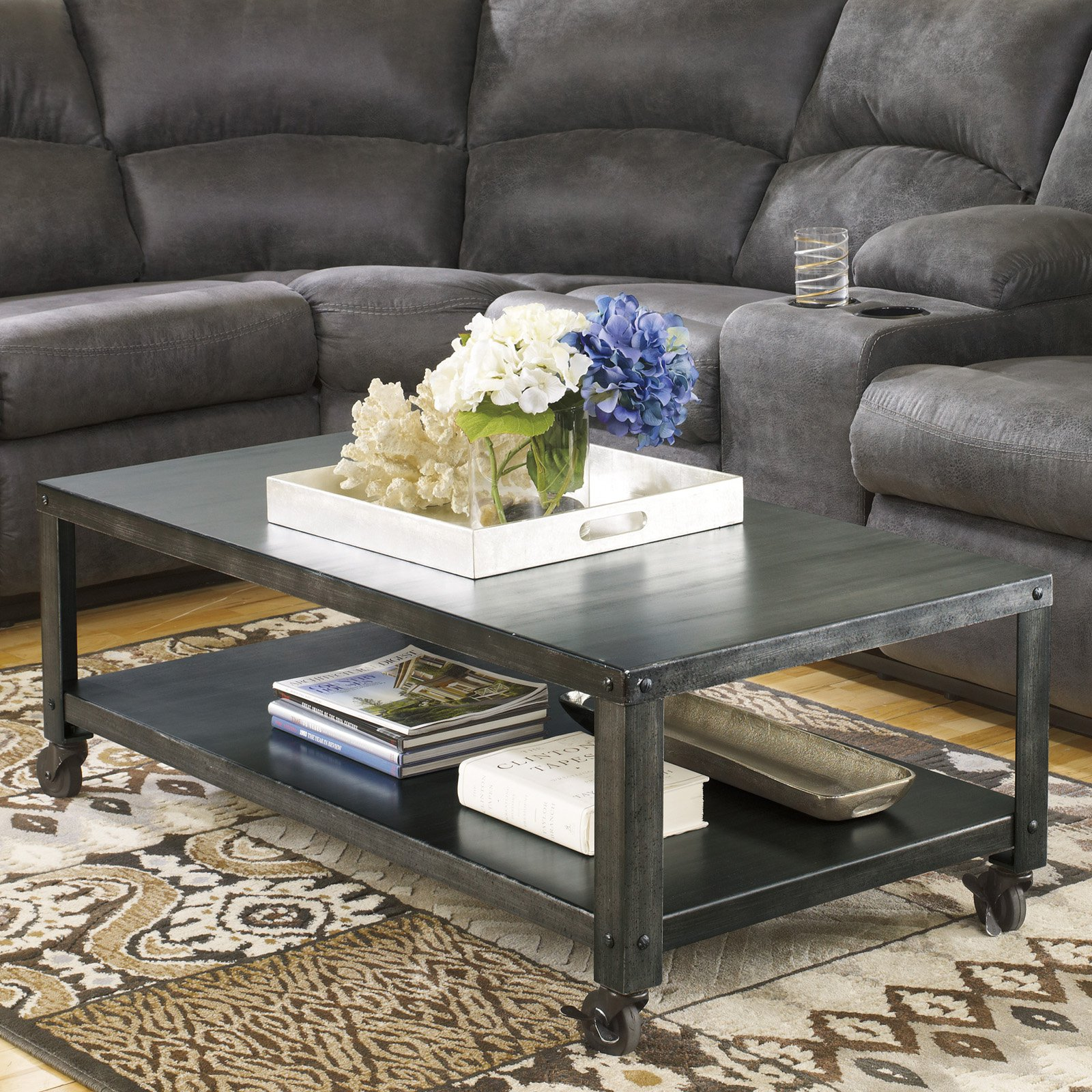 Signature design by ashley hattney gray rectangular cocktail table walmart com