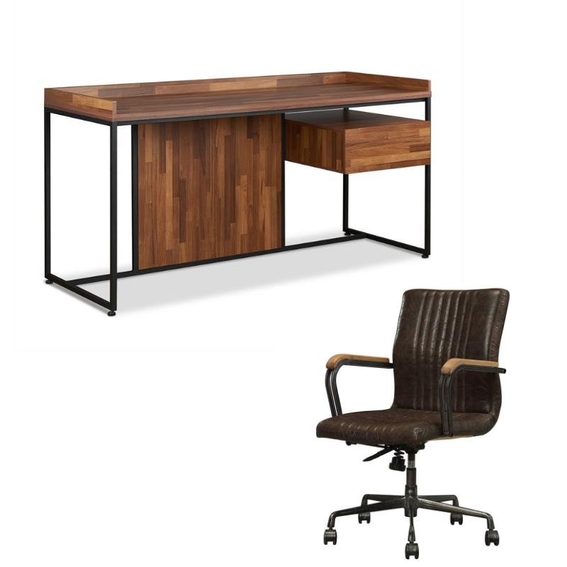 Sara 2 Piece Home Office Desk and Leather Rustic Swivel Office Chair Set
