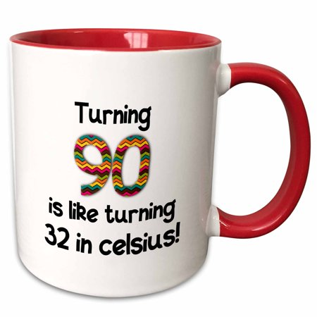 32 Ounce Stadium Cup - 3dRose Turning 90 is like turning 32 in celsius - humorous 90th birthday gift - Two Tone Red Mug, 11-ounce