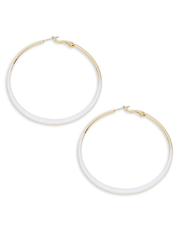 Goldtone and Enamel Hoop Earrings