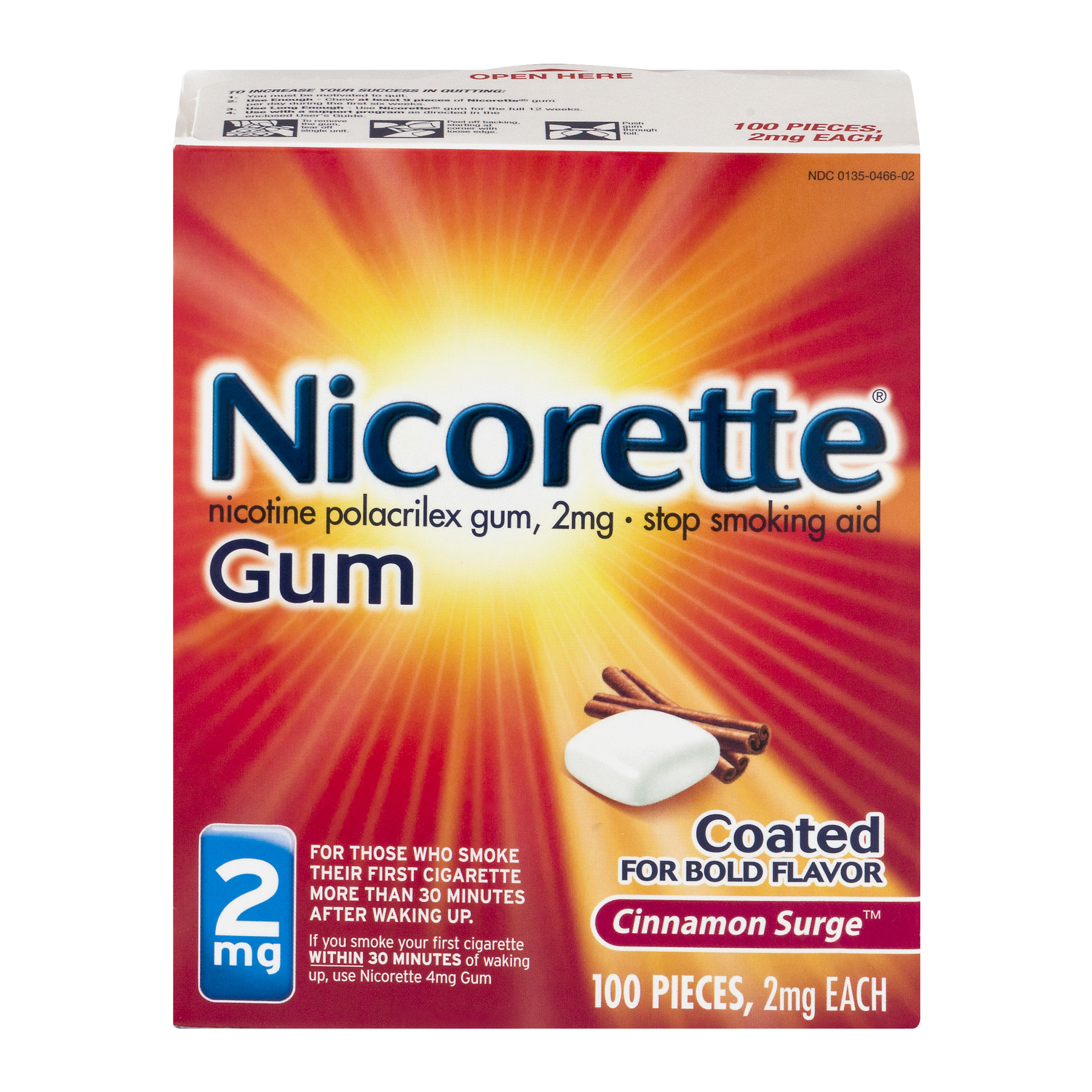 Nicorette Cinnamon Surge 2mg Stop Smoking Aid Gum 100 ct Box