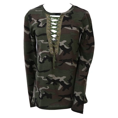 - Ladies 3/4 Sleeve Fashion Top Looset Womens Camouflage T Shirt Tunic Blouse S