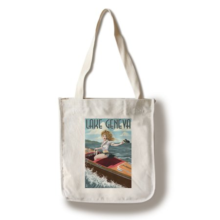 Lake Geneva, Wisconsin - Pinup Girl Boating - Lantern Press Artwork (100% Cotton Tote Bag - Reusable)