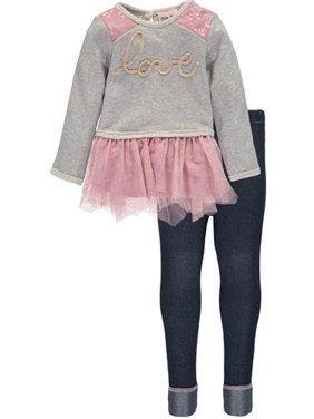 8dd0368a90 Product Image Little Lass Baby Girls 12-24 Months Sequin Love Legging Set  (Grey 18 Months
