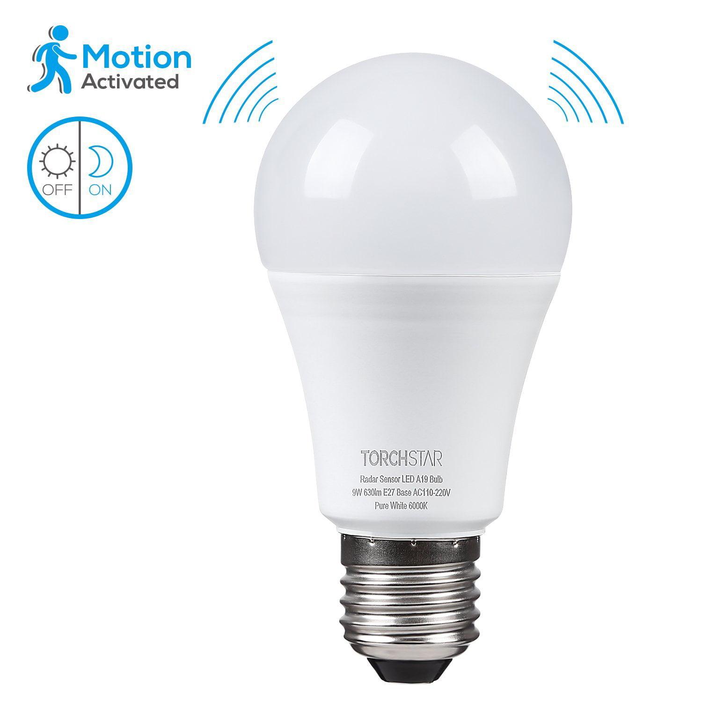 TORCHSTAR 9W A19 Motion Sensor Light Bulbs, LED Light Bulbs for Driveways, Basements, Garages, 6000K Pure White