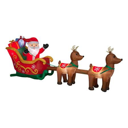 12.5 ft. Inflatable Santa in Sleigh with Reindeer Santas Magical Sleigh