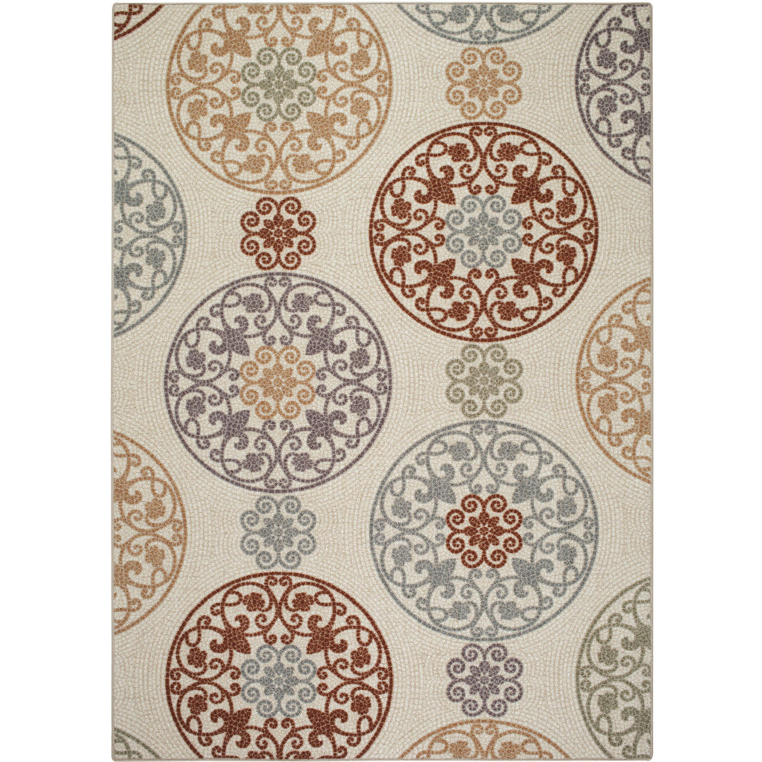 Mainstays Mosaic Nylon Printed Rug, Tan Multi