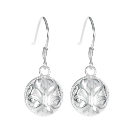 Sterling Silver Round Filigree Flower Ball Dangle Ear Wire French Hook Earrings