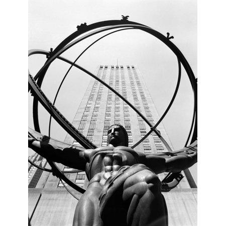 1950s Statue of Atlas at Rockefeller Center Midtown Manhattan Print Wall Art