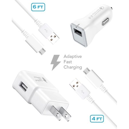 Verizon Charger Kit - Verizon Motorola Luge Charger Fast Micro USB 2.0 Cable Kit by Ixir - (Fast Wall Charger + Fast Car Charger + 2 Cable)
