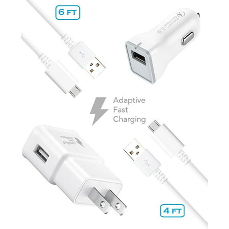 Sprint Samsung Galaxy Note 4 Charger Fast Micro USB 2.0 Cable Kit by Ixir - (Fast Wall Charger + Fast Car Charger + 2