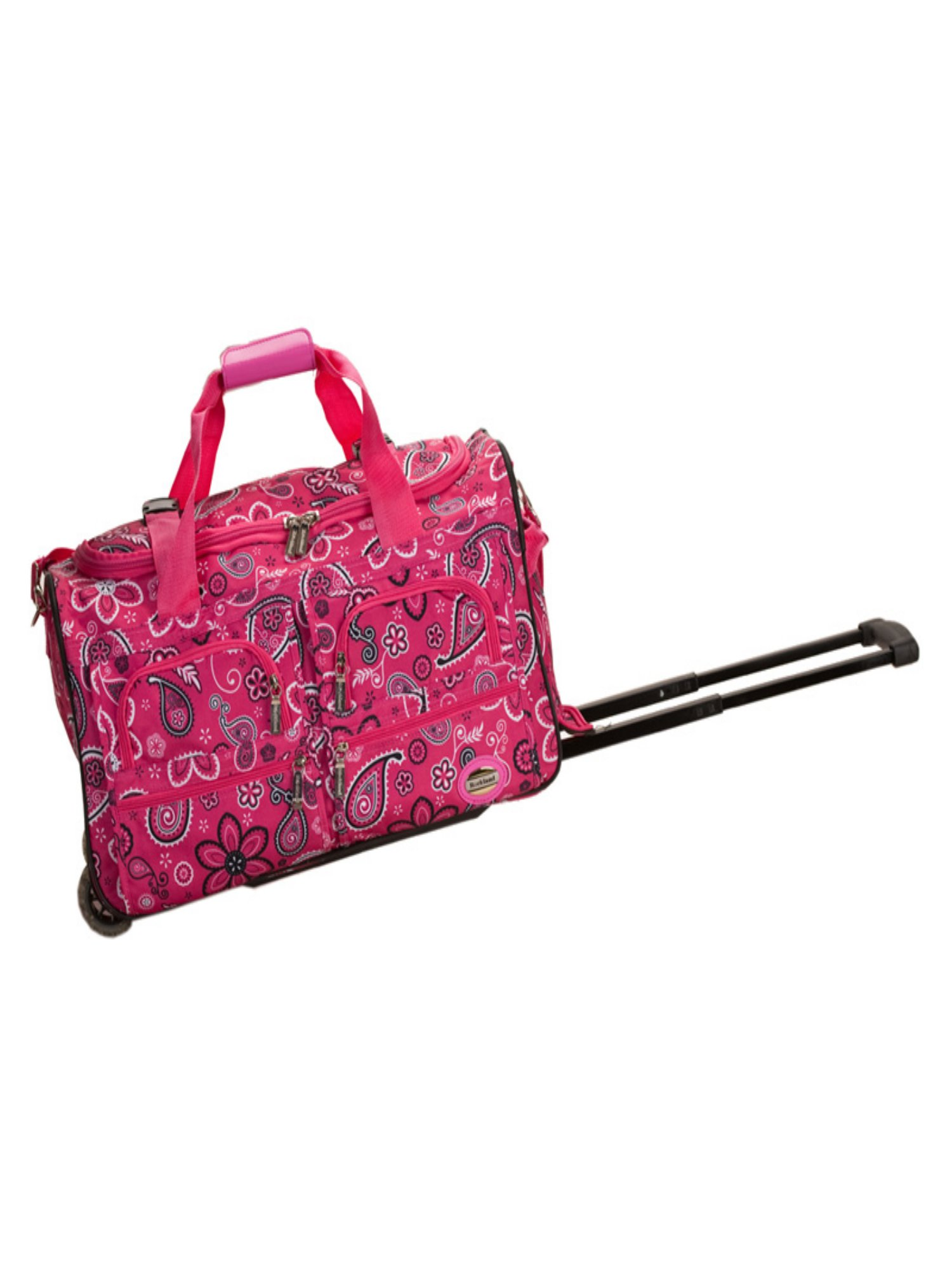 Rockland Luggage 22 in. Rolling Duffle Bag Pink Bandana by Fox Luggage Inc