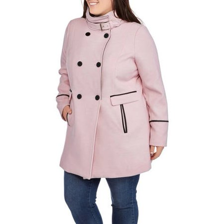 a346f7336bd5 Generic - Women s Plus-Size Classic Double-Breasted Faux Wool ...