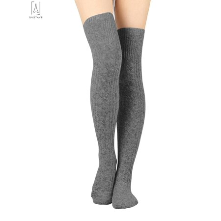 d694dfe714f Gustave - GustaveDesign Women Thigh High Socks Over the Knee Leg Warmer High  Boot Knit Stocking