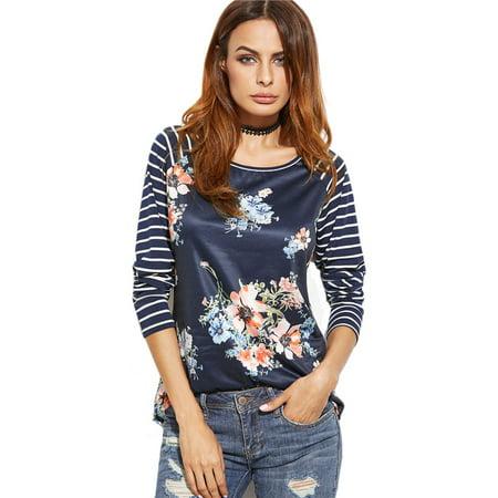 Womens Printed Long Sleeve Tshirt Korean Fashion T Shirt Navy Striped Raglan Sleeve Floral Print T Shirt