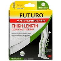 FUTURO Anti-Embolism Stockings Thigh Length Closed Toe 18mm/Hg Medium Regular White 1 Pair