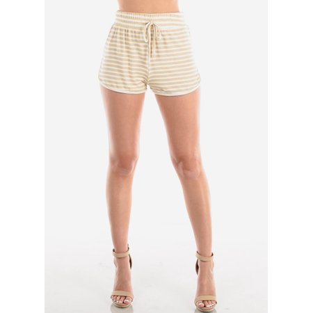 Women's Junior Ladies Casual Loungewear Cute Must Have High Waisted Super Soft Tan Beige And White Stripe Summer Short Shorts 40382W