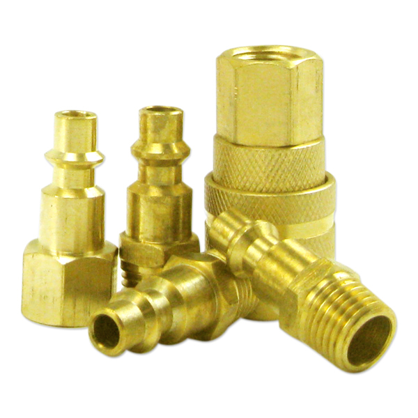 "5 Pc 1/4"" Brass Air Quick Couplers Female Male Female Plugs"