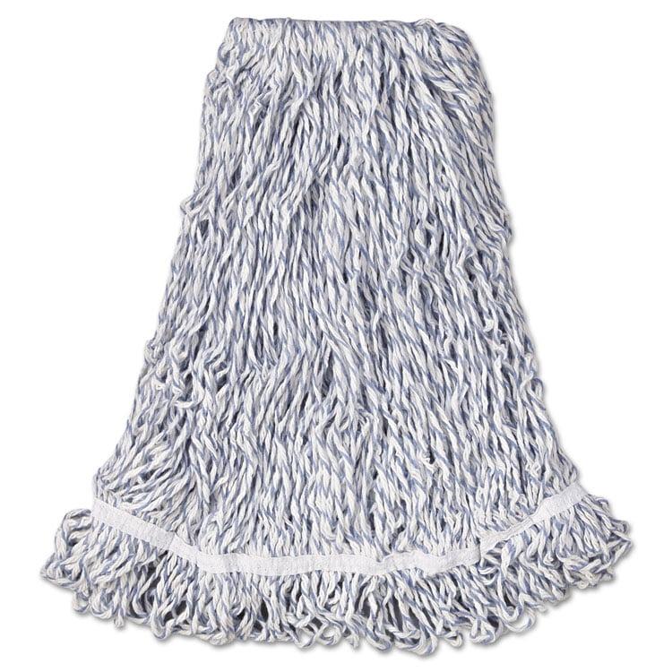 "Web Foot Finish Mop, Cotton/synthetic, White, Large, 1"" White Headband, 6/carton"