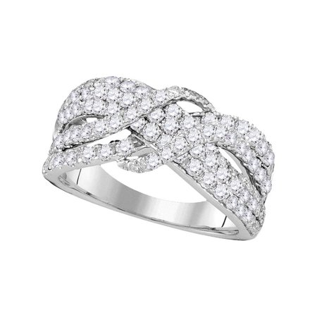 14kt White Gold Womens Round Pave-set Diamond Crossover Strand Band 1-1/2 Cttw - image 1 of 1