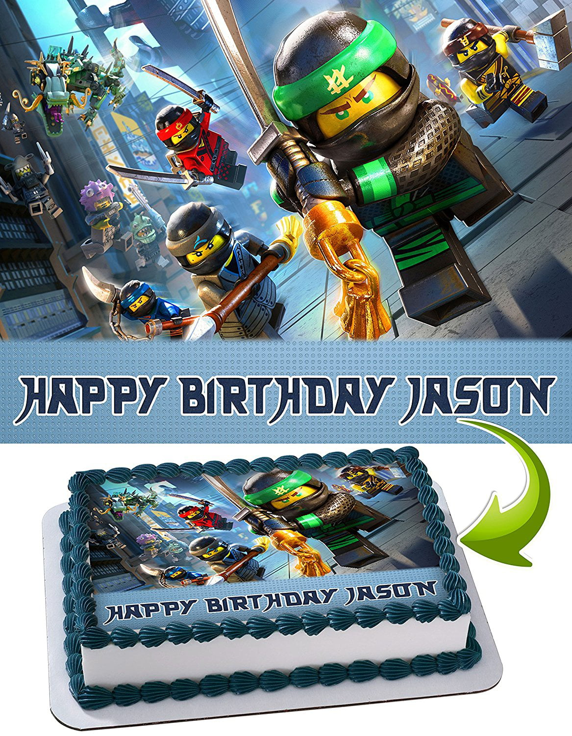 LEGO NINJAGO Personalized Cake Toppers Icing Sugar Paper A4 ...