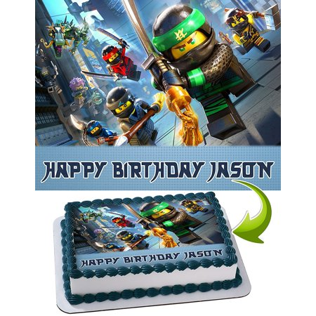 LEGO NINJAGO Personalized Cake Toppers Icing Sugar Paper A4 Sheet Edible Frosting Photo Birthday Topper 1 4