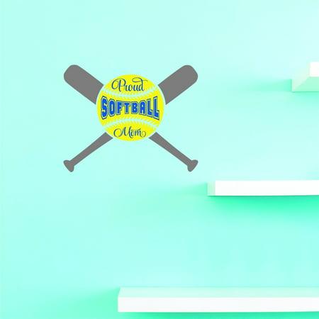 Custom Wall Decal Sticker : Proud Softball Mom Sports Home Decor 12x12