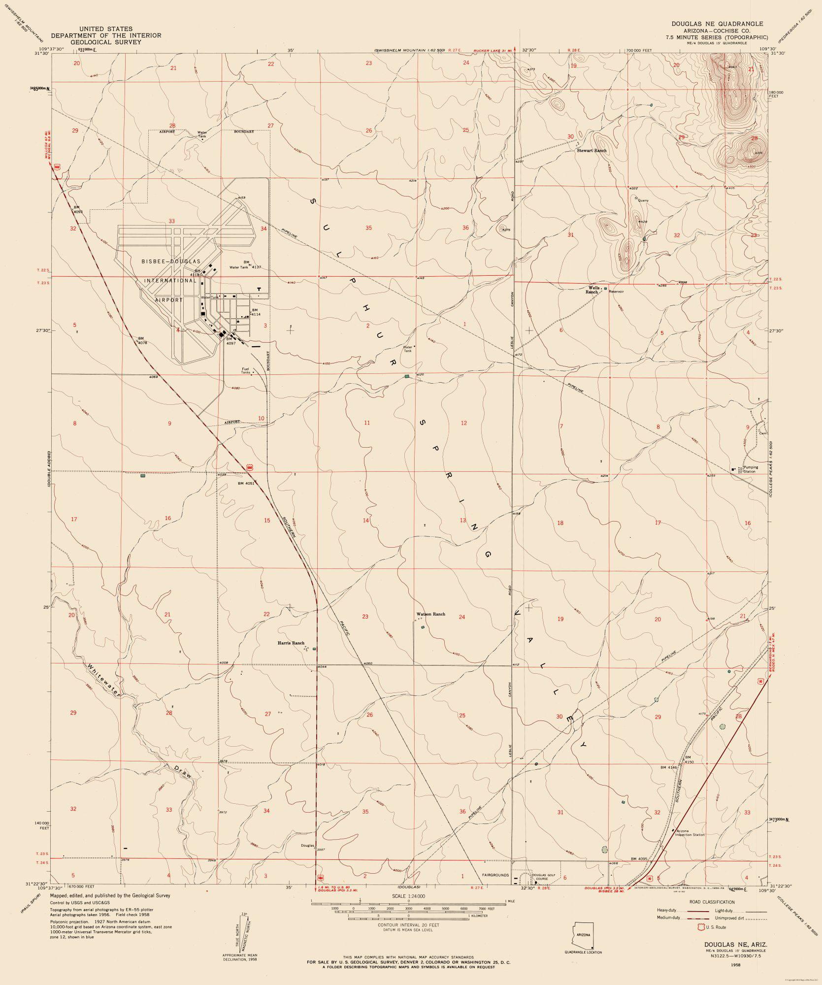 Map Of East Arizona.Topographic Map North East Douglas Arizona Quad Usgs 1958 23 X
