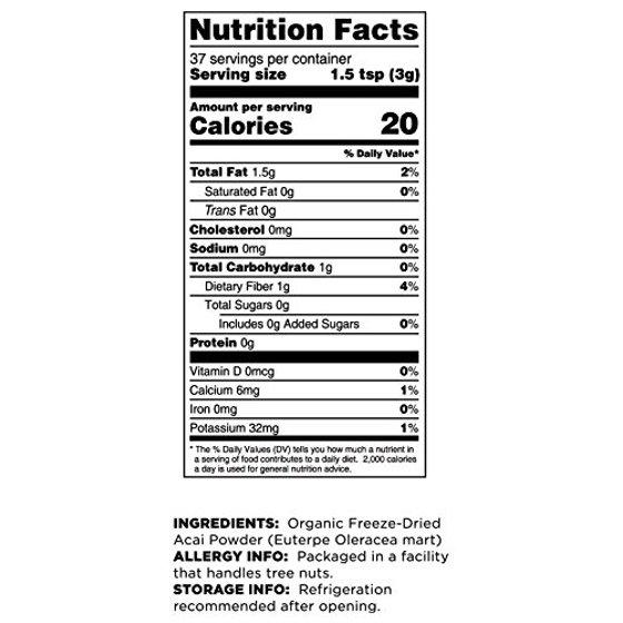 Terrasoul Superfoods Organic Acai Freeze-Dried Powder, 4 0