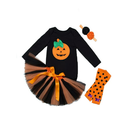 StylesILove Halloween Pumpkin 5 pcs Baby Girl Costume Dress Outfit Set (M/3-6 Months) - Black And Orange Outfit For Halloween