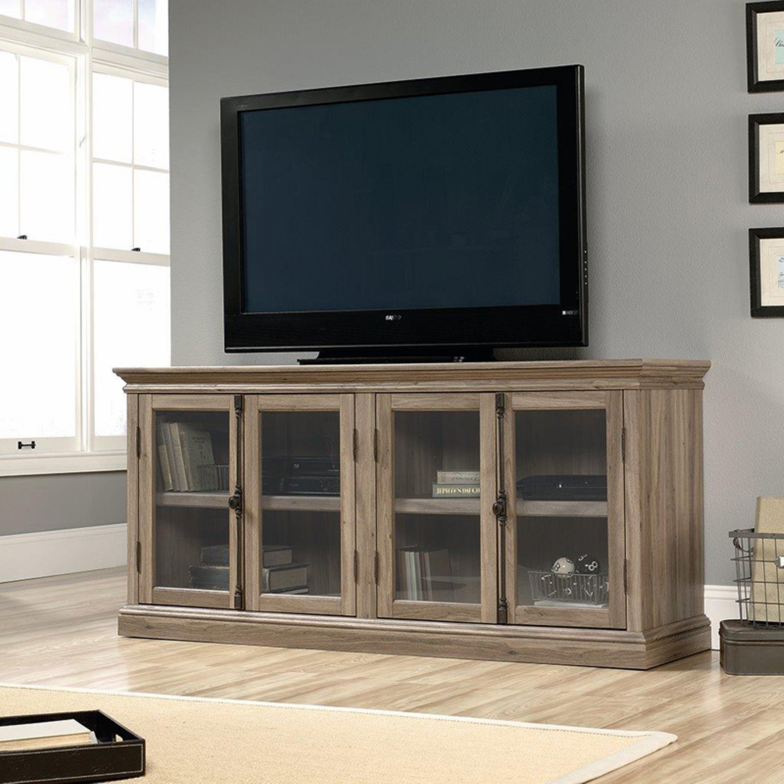 Sauder Barrister Lane Storage Credenza TV Stand Salt Oak by Sauder