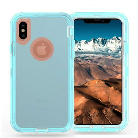 Apple iPhone XR Clear Transparent Heavy Duty Case Full Body Protective Shockproof Anti-Scratch Cover Hard PC Bumper + Belt Clip Holster Blue