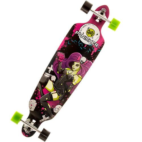"Punisher Skateboards Zombie 40"" Long Board, Double Kick with Drop Down Deck"