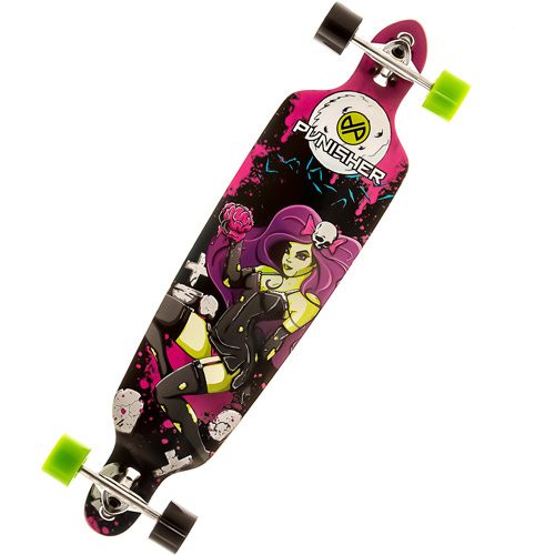 "Punisher Skateboards Zombie 40"" Long Board, Double Kick with Drop Down Deck"