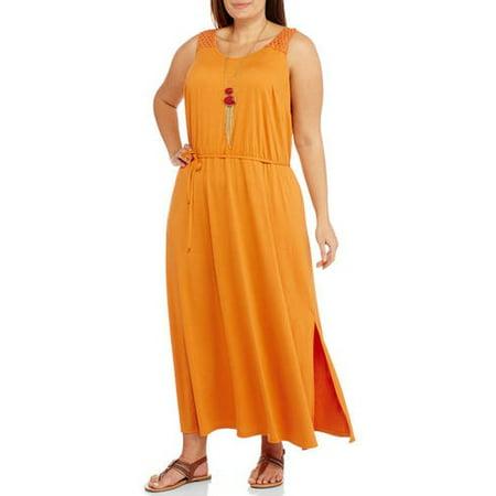 Women\'s Plus-Size Crochet Maxi Dress