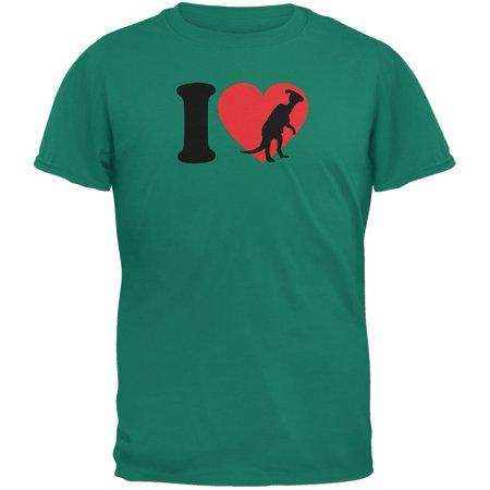 I Heart Love Parasaurolophus Dinosaur Jurassic Jade Green Adult T-Shirt - Dinosaur Adult