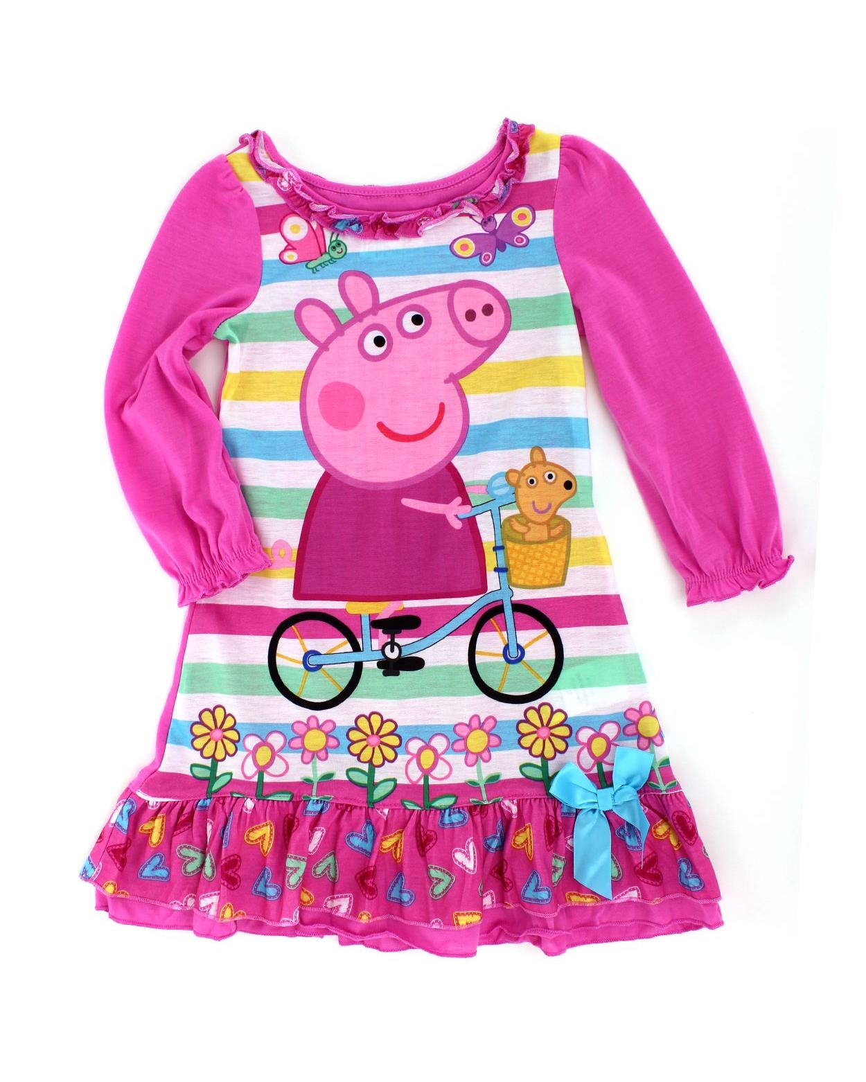 Peppa Pig Toddler Poly Nightgown Pajamas, Pink/Multi, Size: 4T