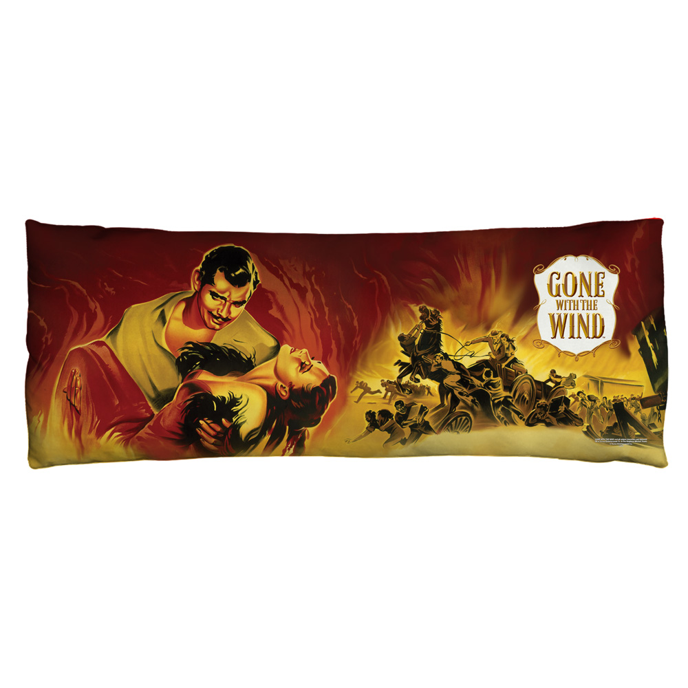 Gone With The Wind Fire Poster Microfiber Body Pillow White 18X54