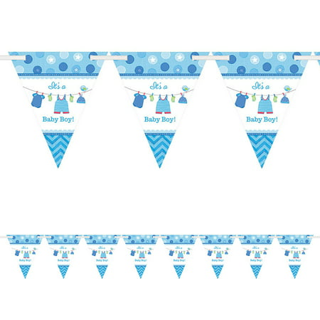 Shower With Love Baby Boy Pennant Banner (Each) - Baby Shower Party Supplies](Baby Boy Party Supplies)