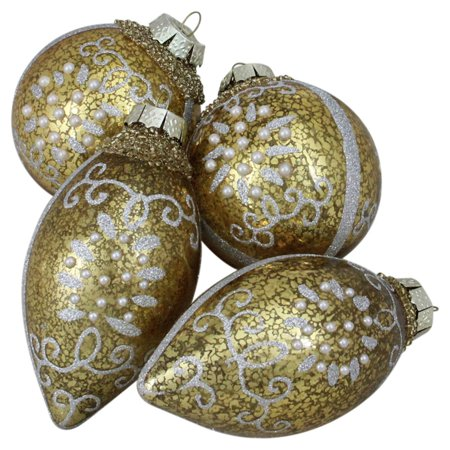 Silver Ball Drop - Northlight 4 Piece Shiny Gold and Silver Ball and Tear Drop Ornament Set