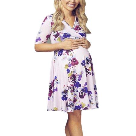 40deb1b5b3d08 JMAMIR - JMAMIR Women's Flower Print V-Neck 3/4 Sleeve Baby Shower  Maternity Dress - Walmart.com