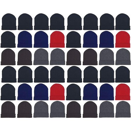 Jester Hats Wholesale (48 Pack Winter Beanies, Wholesale Bulk Cold Weather Warm Knit Skull Caps, Mens Wommens Unisex Hats (Assorted)
