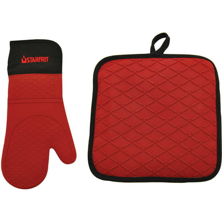 - Starfrit Silicone/Cotton Pot Holder/Trivet and Silicone Gloves Set