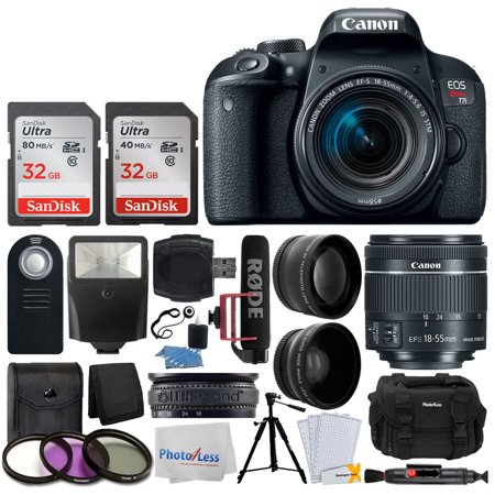canon eos rebel t7i dslr camera with 18-55mm lens video creator kit + 64gb memory card + 58mm wide angle + 2x telephoto lens + wireless remote + slave flash - Wide Zoom Flash Memory Card