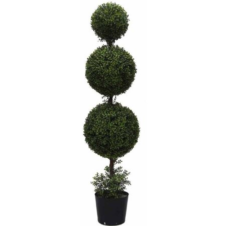 Vickerman 5' Artificial Triple Ball Green Boxwood Topiary Potted in a Black Planters Pot, UV-Resistant
