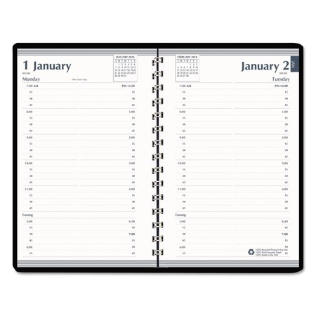House of Doolittle Daily Appointment Book, 15-Minute Apppointments, 8 x 5, Black, 2018