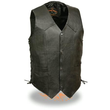 Mens Classic Side Lace Leather Biker Vest Premium Milled Cowhide (Cow Vest Woody)