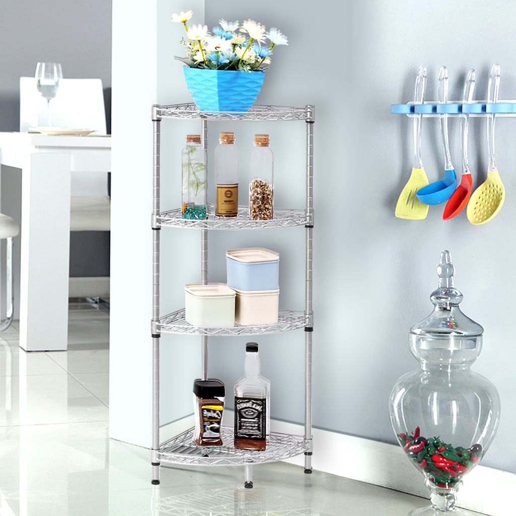 LANGRIA 3-Tire Corner Wire Shelf Bathroom Corner Shelf Bookcase ...